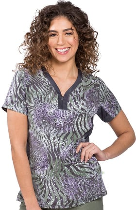 Clearance Purple Label by Healing Hands Women's Jessi Hidden Safari Print Scrub Top