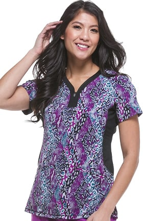 Purple Label Yoga by Healing Hands Women's Jessi Y-Neck Side Panel Animal Print Scrub Top