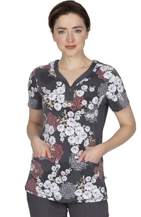 Premiere by Healing Hands Women's Jessi Origami Floral Print Scrub Top
