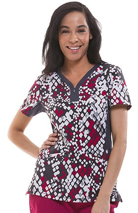 Clearance Premiere by Healing Hands Women's Jessi Y-Neck Side Panel Animal Print Scrub Top