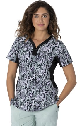Clearance Premiere by Healing Hands Women's Jessi Sage Beauty Print Scrub Top