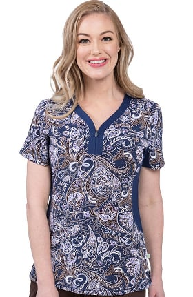 Premiere by Healing Hands Women's Jessi Timeless Paisley Print Scrub Top