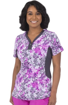 Premiere by Healing Hands Women's Jessi Water Color Print Scrub Top