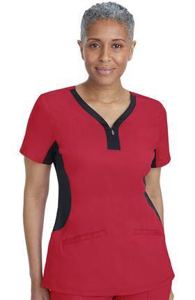 Purple Label Yoga by Healing Hands Women's Jessi Y-Neck Side Panel Solid Scrub Top