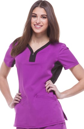 Clearance Purple Label by Healing Hands Women's Jessi Y-Neck Side Panel Yoga Solid Scrub Top