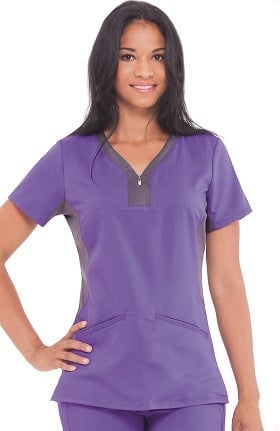 Clearance Purple Label Yoga by Healing Hands Women's Jessi Y-Neck Side Panel Solid Scrub Top