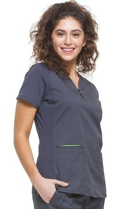 Green Label with TENCEL® by Healing Hands Women's Alicia Stretch V-Neck Solid Scrub Top