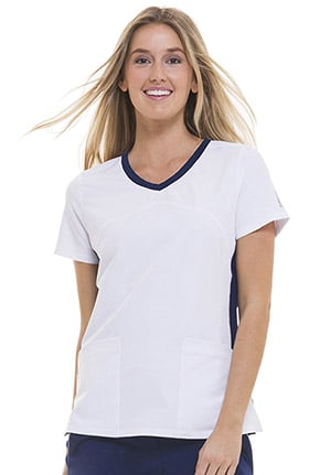 HH360° by Healing Hands Women's Shona Contrast Sporty V-Neck Solid Scrub Top