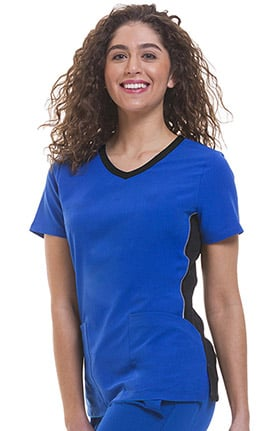 Clearance HH360 by Healing Hands Women's Shona Contrast Sporty V-Neck Solid Scrub Top