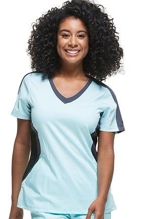 Purple Label Classic Fit by Healing Hands Women's Jewel V-Neck Colorblock Solid Scrub Top