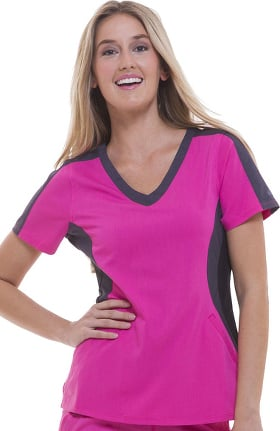 Clearance Purple Label by Healing Hands Women's Jewel V-Neck Colorblock Solid Scrub Top