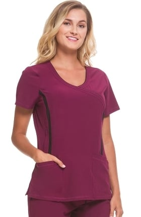 Clearance Performance Sport by Healing Hands Women's Courtney Mock Wrap Solid Scrub Top
