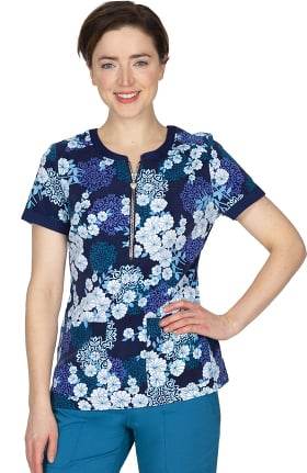 Premiere by Healing Hands Women's Jean Origami Floral Print Scrub Top