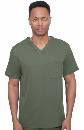 HH Works by Healing Hands Men's Mason Solid Scrub Top