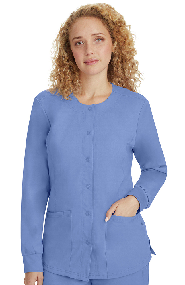 Purple Label Classic Fit By Healing Hands Womenu0027s Daisy Snap Warm Up Solid Scrub  Jacket