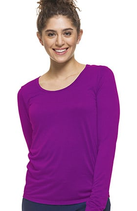 Clearance Purple Label by Healing Hands Women's Sasha Long Sleeve Solid Underscrub T-Shirt