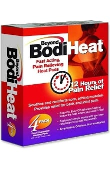 """Okamoto USA Beyond BodiHeat Pain Relieving Back Heat Pad 3¾"""" x 5⅚"""" Disposable 4 Pack"""