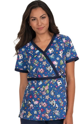 Clearance koi by tokidoki Women's Luna Denim Dazed Print Scrub Top