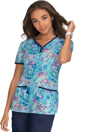 Clearance koi by Tokidoki Women's Eve Watercolor Unicorno Print Scrub Top
