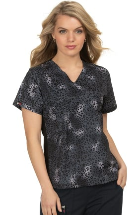 koi Lite Women's Lucky Animal Kingdom Print Scrub Top