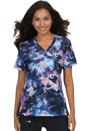 koi Lite Women's Lucky Galaxy Burst Print Scrub Top