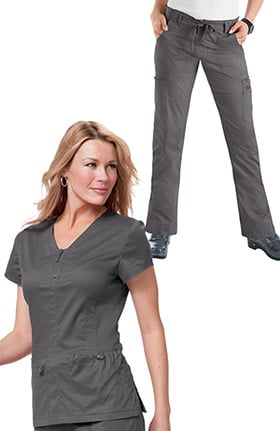 koi Stretch Women's Mackenzie Zip V-Neck Solid Scrub Top & Lindsey Drawstring Skinny Scrub Pant
