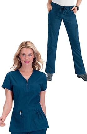 koi Stretch Women's Mackenzie Zip V-Neck Solid Scrub Top & Lindsey Drawstring Skinny Scrub Pant