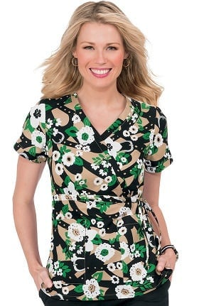 Clearance koi Prints Women's Kathryn Mock Wrap Floral Print Scrub Top