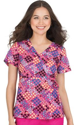 koi Prints Women's Kathryn Mock Wrap Geometric Print Scrub Top