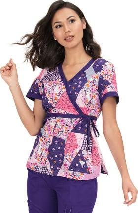 koi Classics Women's Kathryn Mock Wrap Floral Print Scrub Top