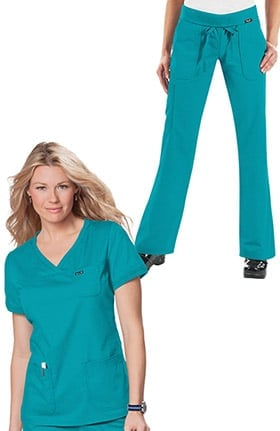 koi Women's Nicole Crossover V-Neck Solid Scrub Top & Morgan Foldover Yoga Style Scrub Pant Set