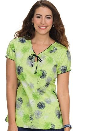 koi Prints Women's Bridgette V-Neck Embroidered Floral Print Scrub Top