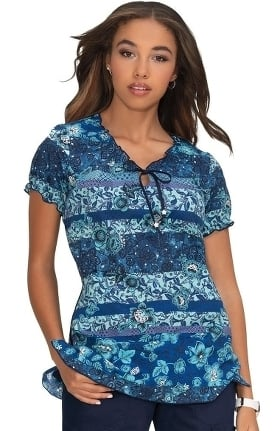 koi Prints Women's Bridgette Bohemian Stripe Print Scrub Top