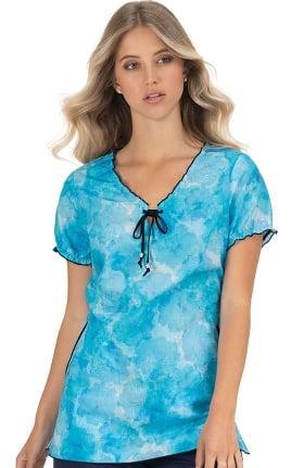 koi Classics Women's Bridgette Tie Neck Abstract Print Scrub Top