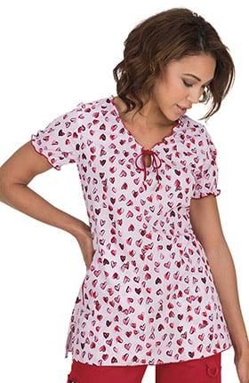 Clearance koi Prints Women's Bridgette V-Neck Heart Print Scrub Top