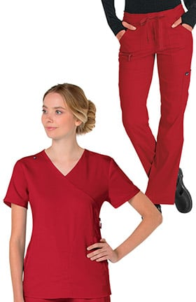 koi Lite Women's Philosophy Mock Wrap Side Zip Solid Scrub Top & Peace Drawstring Cargo Scrub Pa