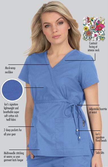Navy Blue Color Code >> koi Women's Katelyn Wrap Solid Scrub Top | allheart.com