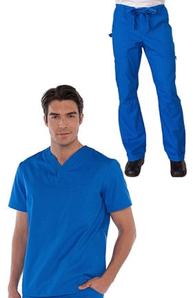 koi Classics Men's Jason V-Neck Solid Scrub Top & James Zip Fly Scrub Pant Set