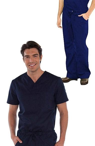 735f839c513 koi Classics Men's Jason V-Neck Solid Scrub Top & James Zip Fly Scrub Pant