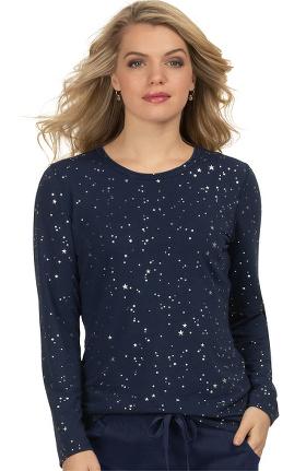 koi Lite Women's Tessa Stars Print Underscrub T-Shirt