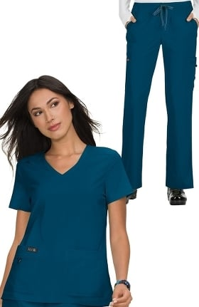 koi Basics Women's Becca V-Neck Solid Scrub Top & Holly Drawstring Scrub Pant Set