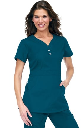 Clearance koi Classics Women's Justine Snap Button Solid Scrub Top