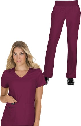 koi Basics Women's Becca V-Neck Solid Scrub Top & Laurie Yoga Scrub Pant Set