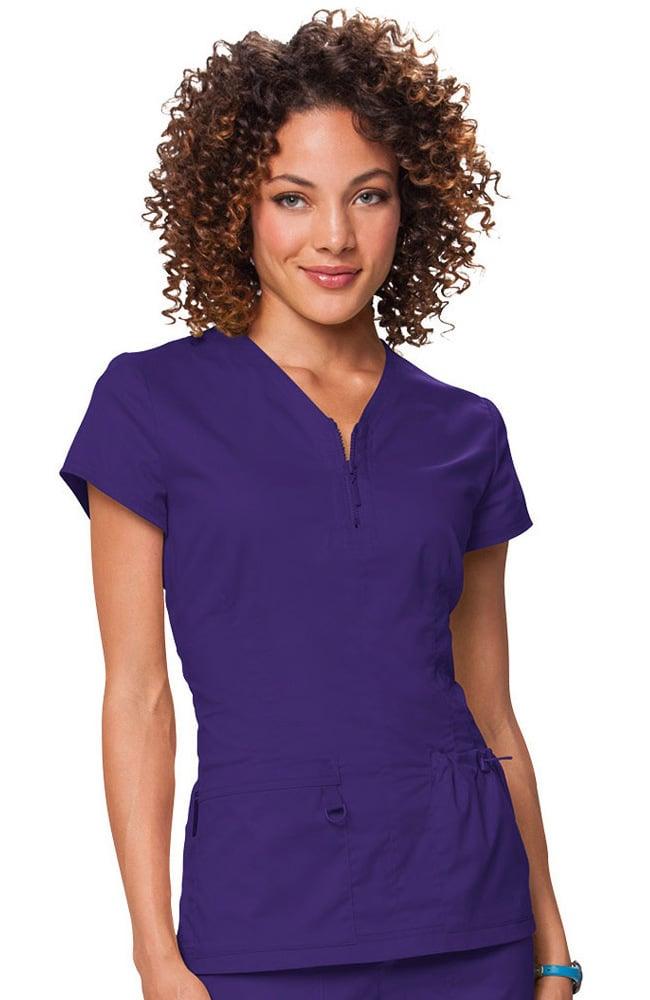 75cc893acf1 koi Stretch Women's Mackenzie Zip V-Neck Solid Scrub Top koi women's scrub  tops