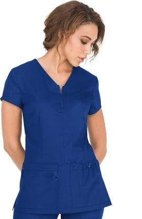 Clearance koi Stretch Women's Mackenzie Zip V-Neck Solid Scrub Top