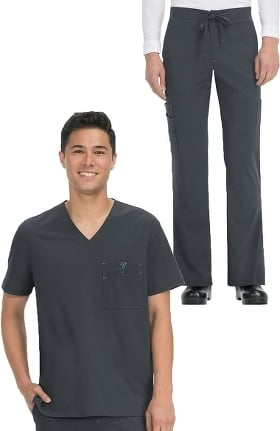 koi Basics Men's Bryan V-Neck Solid Scrub Top & Luke Drawstring Scrub Pant Set