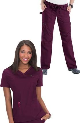 019109a239f koi Classics Women's Nicole V-Neck Solid Scrub Top & Lindsey Cargo Scrub  Pant Set
