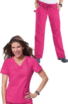 koi Classics Women's Nicole V-Neck Solid Scrub Top & Lindsey Cargo Scrub Pant Set