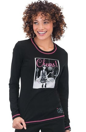 Clearance koi Classics Women's Stacy Long Sleeve Crewneck Martini Girl Print T-Shirt