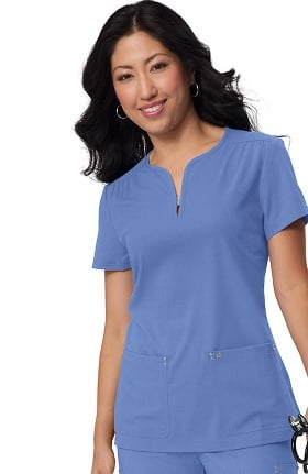 koi Sapphire Women's Mara Y-Neck Solid Scrub Top